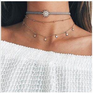Adorable layered choker necklace set stars gold